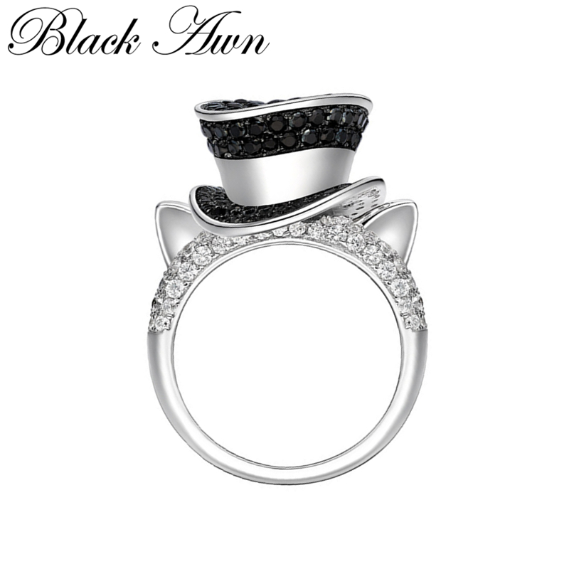BLACK AWN 925 Sterling Silver Jewelry Cat Hat Ring For Women G099