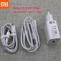 Xiaomi-cargador rápido 5V2A, adaptador de corriente USB/Cable de datos tipo C para Redmi Mi A1 A2 lite 5 6 8 SE, 100% Original