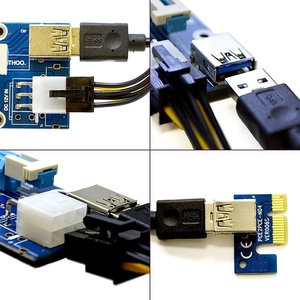 Image 5 - 6 Pack 6 Pin PCIe PCI E Express 1X to 16X Riser Card with 6 Pin PCI E to 15 Pin SATA Power Cable and 60cm USB 3.0 Cable