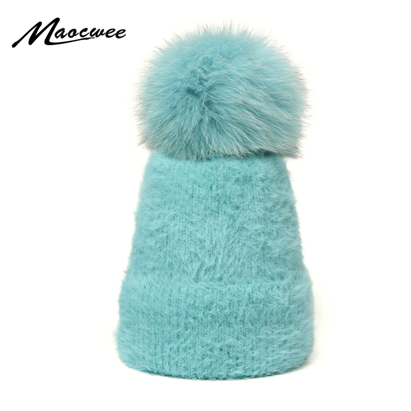 Women Winter Beanies Hats Real Fur Pom Pom Hat Loose Skullies Hats Knitted Wool Diamonds Beanie Shiny Ladies Girls Caps