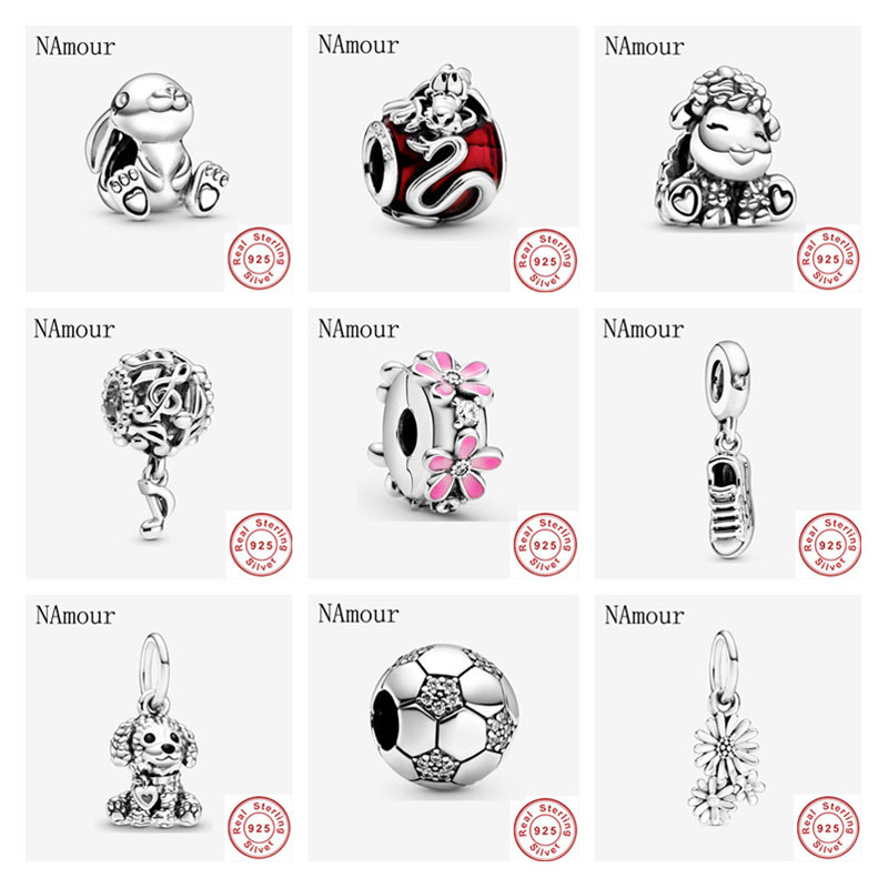 925 Sterling Silver mushu openwork musical daisy clip patti sheep DIY fine beads Fit Original Pandora Charm Bracelet Jewelry(China)