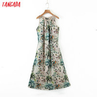 Tangada fashion women leaf print halter sundress with slash 2020 new arrival Ladies midi Dress Vestidos QB148 1