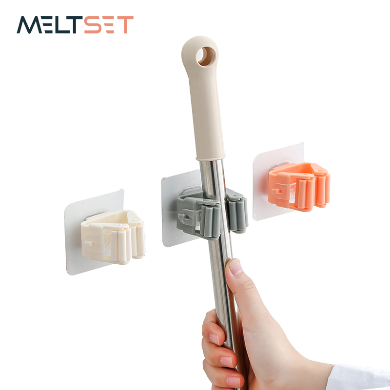 1pc Mop Holder Wall Mounted Punch-Free Broom Holders Adhesive Storage Broom Hanger Mop Hook For Kitchen Bathroom Organizer Racks