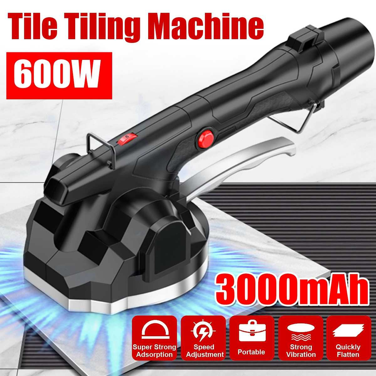 600W Vibrator For Tiles 100x100cm Tiling Plastering Machine Laying Tiles With 1x300mAh Battery Automatic Floor Vibrator Leveling