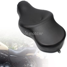 купить For Harley XL883 XL1200 N Sportster 05-13 Motorcycle Black Solo Leather+Soft Foam Driver+Passenger Pillion Low-Pro Retro Seat по цене 7813.14 рублей