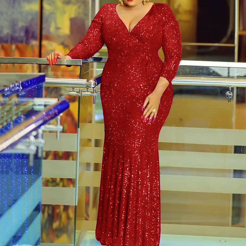 African Formal Evening Sequins Long Dresses Women Fall Solid Blue Sexy Robe Elegant Bodycon Dinner Party Dress Plus Size V Neck