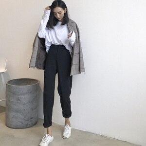 Image 3 - Женские однотонные брюки, подходящие ко всему брюки до щиколотки, женские тонкие элегантные прямые модные брюки в Корейском стиле на молнии, 2020