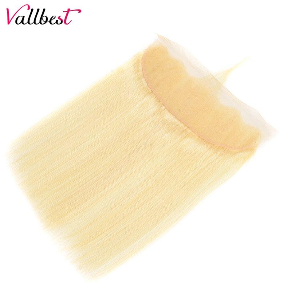 H02b72e2f5b6e464a90789b38d711d6595 Vallbest 613 Bundles With Frontal Middle Ratio Brazilian Straight Hair 3 Bundles With Closure Remy Blonde Bundles With Frontal