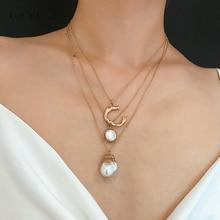IngeSight. Z модное многослойное колье из искусственного жемчуга, ожерелье с подвеской в виде буквы C, женское ювелирное изделие, подарки