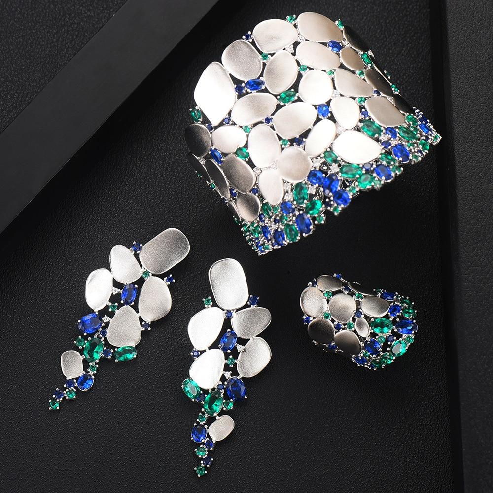Missvikki 2019 mode nouveau Noble luxe bracelet boucles d'oreilles anneau ensemble de bijoux pour les femmes de mariée spectacle de mariage fête ensemble de bijoux chaude