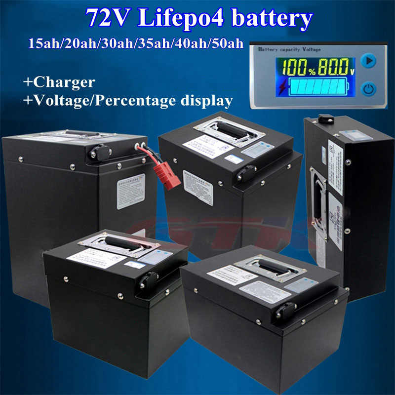GTK new deep cycle 72V 15ah 20ah 30ah 35ah 40ah 50ah 60ah Lifepo4 battery bms 24S for motorcycle ebike scooter +5A Charger