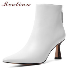 Meotina Winter Ankle Boots Women Natural Genuine Leather Kitten High Heel Short Boots Zipper Pointed Toe Shoes Lady Autumn 34-39 annymoli winter ankle boots women natural genuine leather thick high heel short boots zipper pointed toe shoes lady autumn 34 39