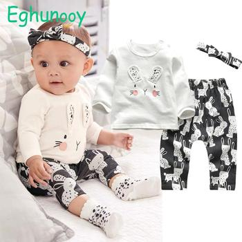 Baby Girl's Printed Sweatshirt, Pants and Headband 3 Pcs Set 1