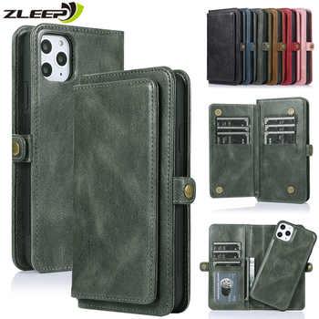 Aleta carteira caso para iphone 11 pro max capa de couro para iphone se 2020 xs max xr x 6s 7 8 mais cartões cinta titular do telefone coque