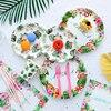 Aloha verano Tropical plato de papel para fiesta de vajilla de Oro Verde artificial hojas de palma fiesta hawaiana suministros decoraciones de cumpleaños