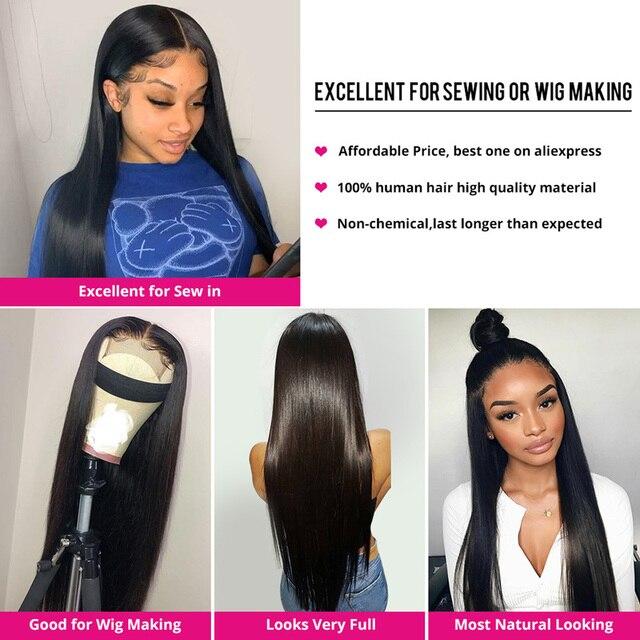 Extensiones de cabello humano liso con cierre de encaje, extensiones de pelo ondulado brasileño, Remy 3