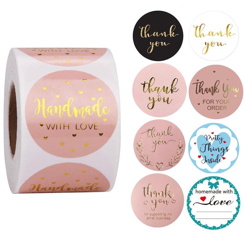 24types-rose-etiquette-autocollants-feuille-merci-autocollants-1-''500-pieces-gout-affaires-commande-maison-main-madesticker-mariage-enveloppe-sceaux