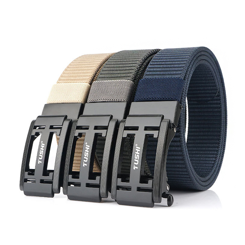 New Trend Canvas Outdoor Zinc Alloy Automatic Buckle Men Belt High Quality Casual Nylon Jeans Belt Designer Belts For Trousers