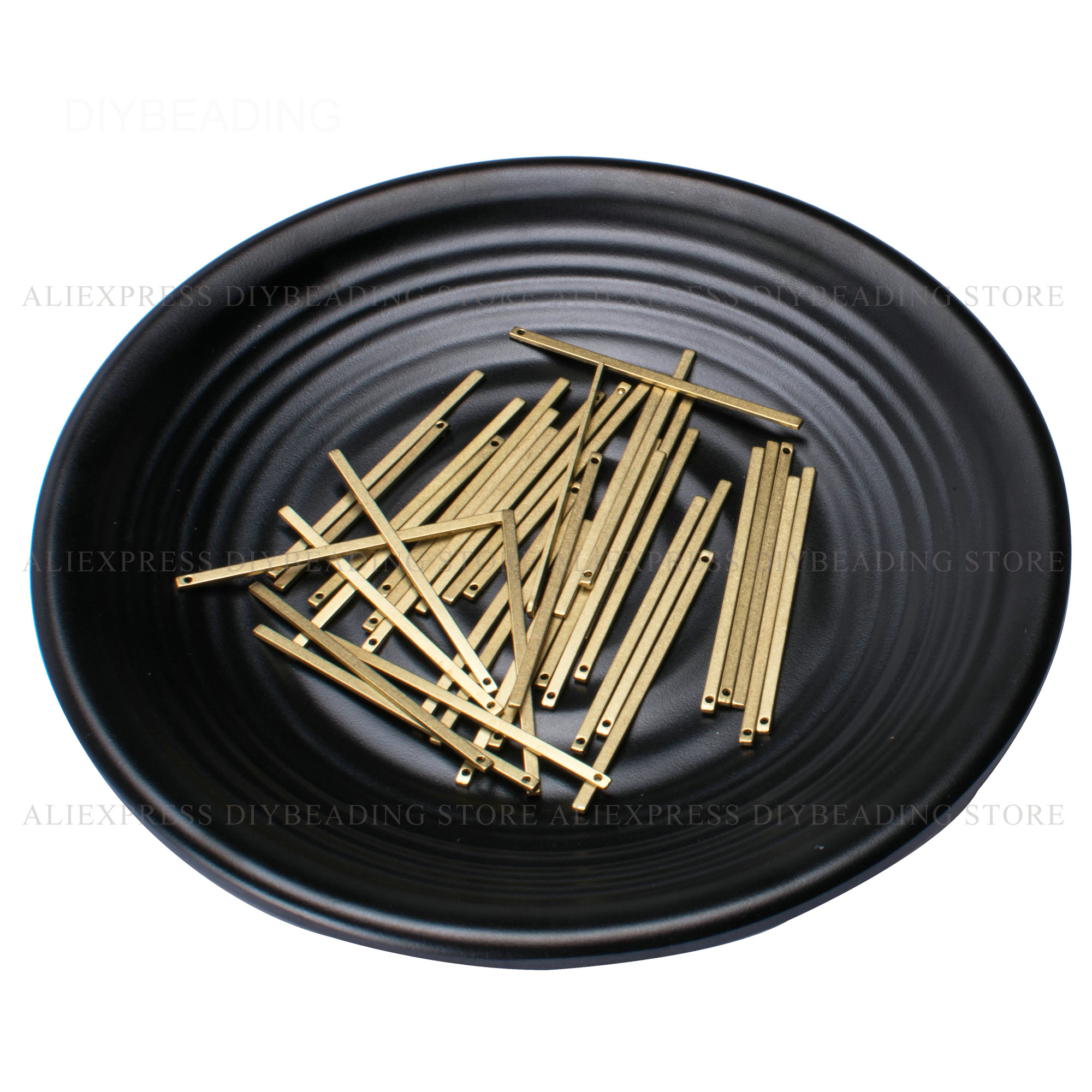 50-200 Pcs Brass Rectangle Geometric Tube Bar Finding Lots Wholesale 20mm 30mm 40mm 50mm 60mm Metal Component For Jewelry Making
