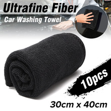 10 unids/set toallas de limpieza y lavado para el cuidado del coche, paños suaves de limpieza detallado de coches, para ventana del hogar, 30x40cm, negro