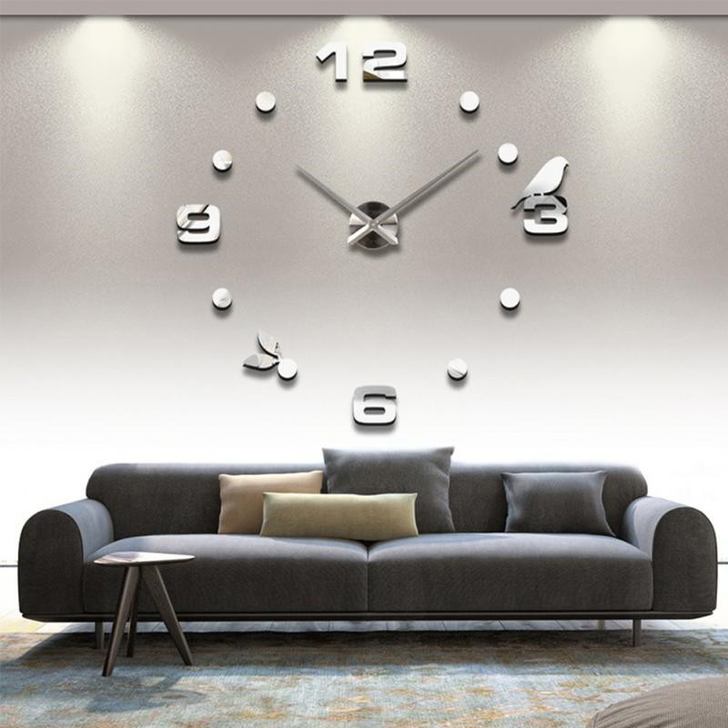 Digital Clock 3D Three-Dimensional Acrylic Wall Stickers Background Wall Removable Green Home Decoration Mirror Stickers