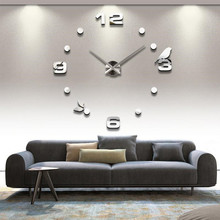 Digital Clock 3D Three-Dimensional Acrylic Wall Stickers Background Wall Removable Green Home Decoration Mirror Stickers diy wall clock acrylic mirror stickers art home decoration