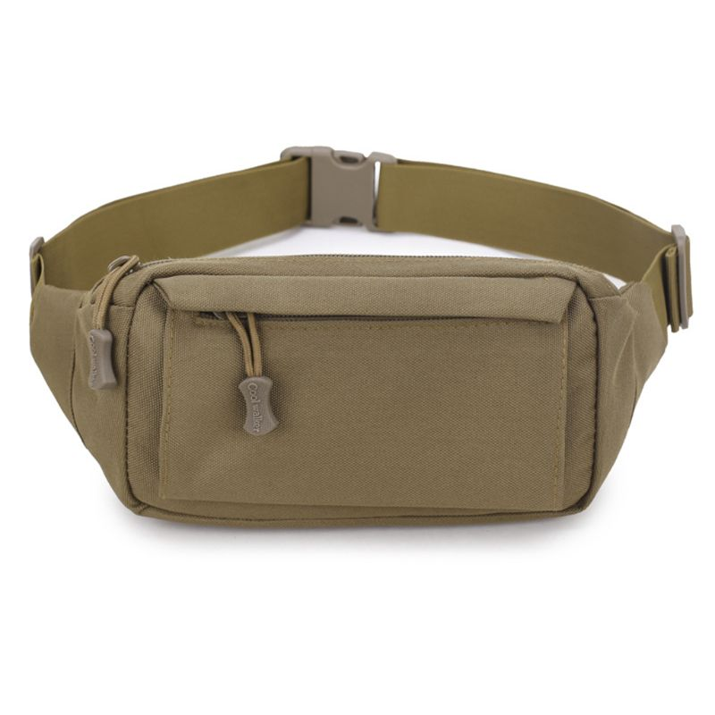 High Quality Men Fanny Pack Chest Shoulder Bag With 3 Pockets Nylon Minitary Waist Bag 2019 Zipper Belt Bag Black/Khaki