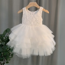 Lace Dresses Bridesmaid Birthday Girl Elegant Princess Party 2-8-Year Bow Ceremony