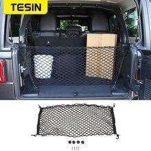 TESIN Auto Mesh Cargo Net Halter Stamm Auto Elastische Lagerung 4 Haken Auto Trunk Organizer Styling Für Jeep wrangler JL JK 2007 2017