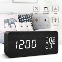 Digital Wooden LED Alarm Clock Wood Retro Glow Desktop Table Decor Temperature Display with USB Cable