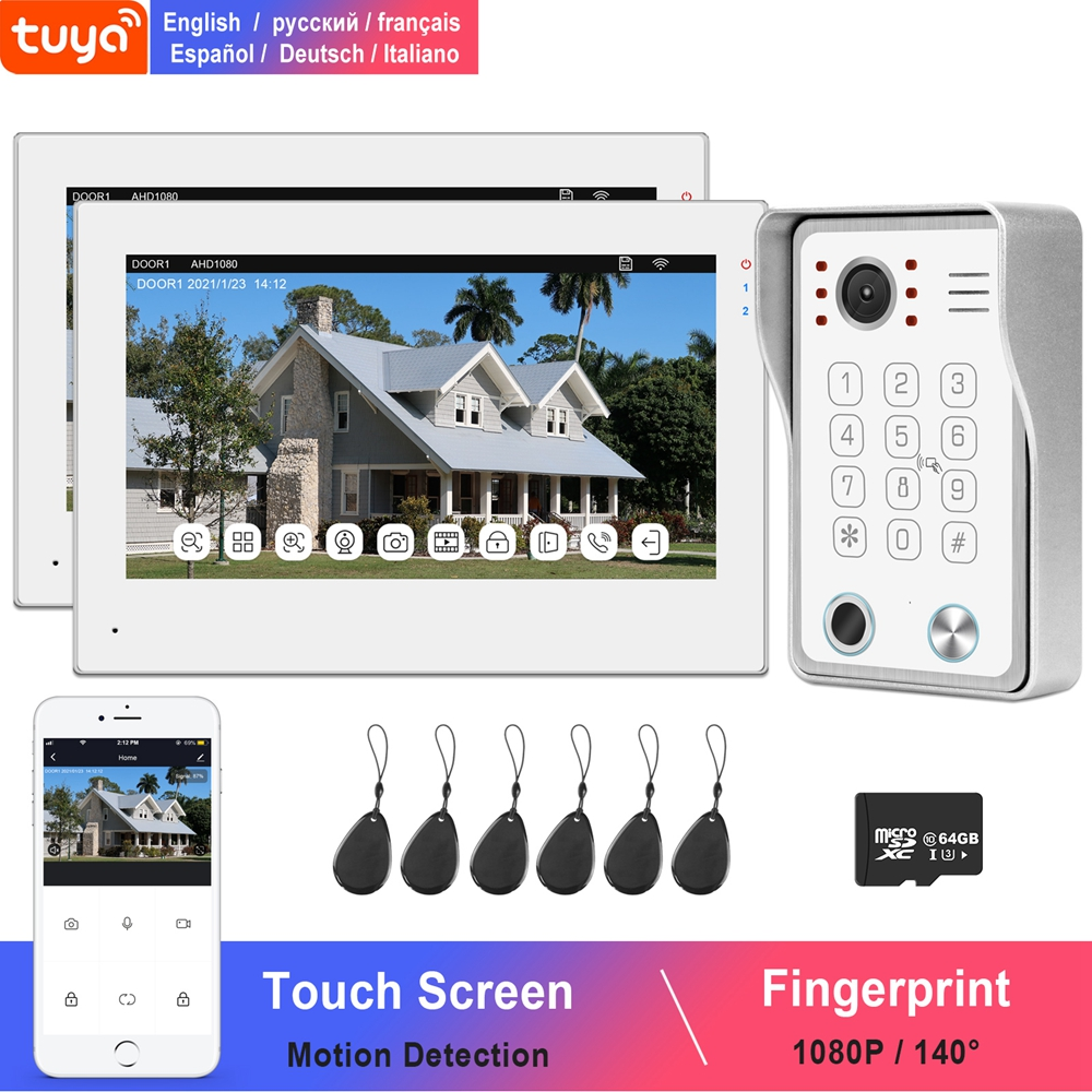 WiFi Video interkom ev TUYA IP interkom dokunmatik ekran 2 monitörler 1080P kapı zili kamera parmak izi şifre IC kart kilidini