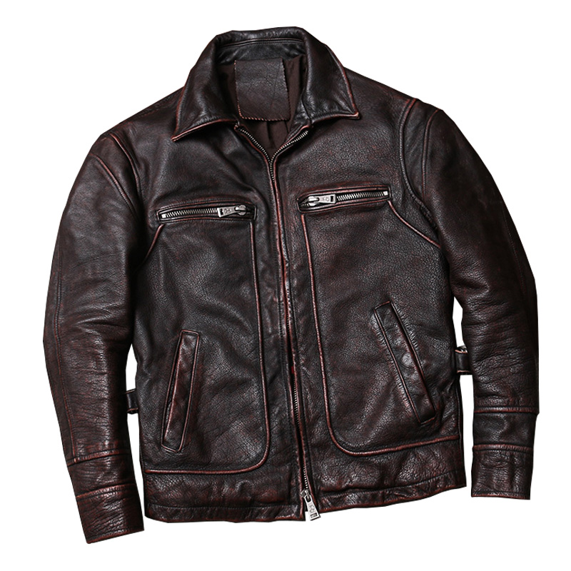 Ultimate SaleòJacket Brown Vintage Autumn American Cowhide Casual-Style Large-Size Genuine XXXXXL Coat