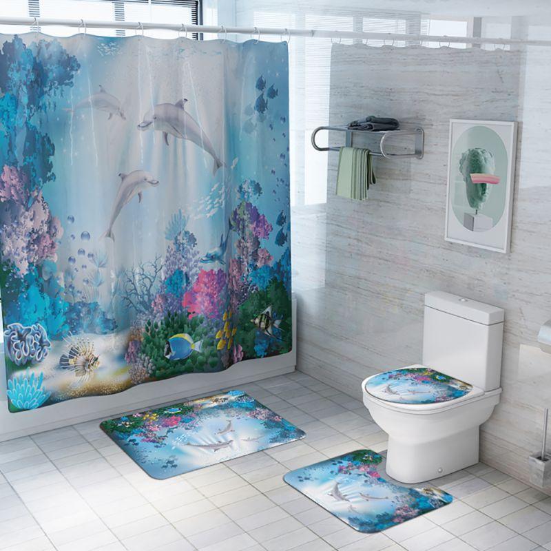 US 3Pcs Seabed dolphin Non-Slip Bathroom Toilet Seat Cover Pedestal Rug Bath