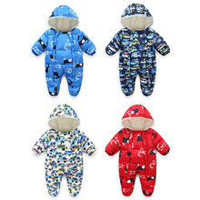 Newborn Baby Girl Boys Footies Bodysuits Clothes Boys Infant Footie Rompers 2019 Winter New Born Hooded Toddler Rompers Outfit(China)