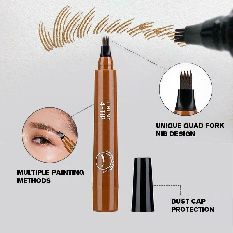 4 Points Eyebrown Pen Waterproof Fork Tip Long Last Sweat-proof Eyebrow Pen Pencil LDO99