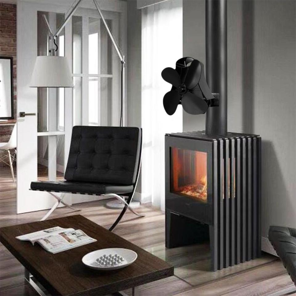 Insert A Pellets Silencieux 4 blade wall hanging heat powered stove fan log wood burner eco kindly  quiet home fireplace fan heat distribution fuel saving