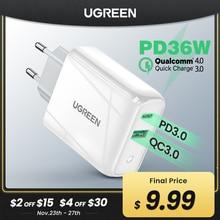 Ugreen 36ワット高速usb充電器急速充電4.0 3.0タイプc pd高速充電12 usb充電器qcと4.0 3.0電話充電器