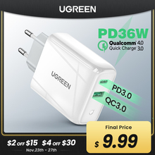 Ugreen 36W caricabatterie rapido USB carica rapida 4.0 3.0 tipo C PD ricarica rapida per iPhone 12 caricatore USB con caricatore per telefono QC 4.0 3.0