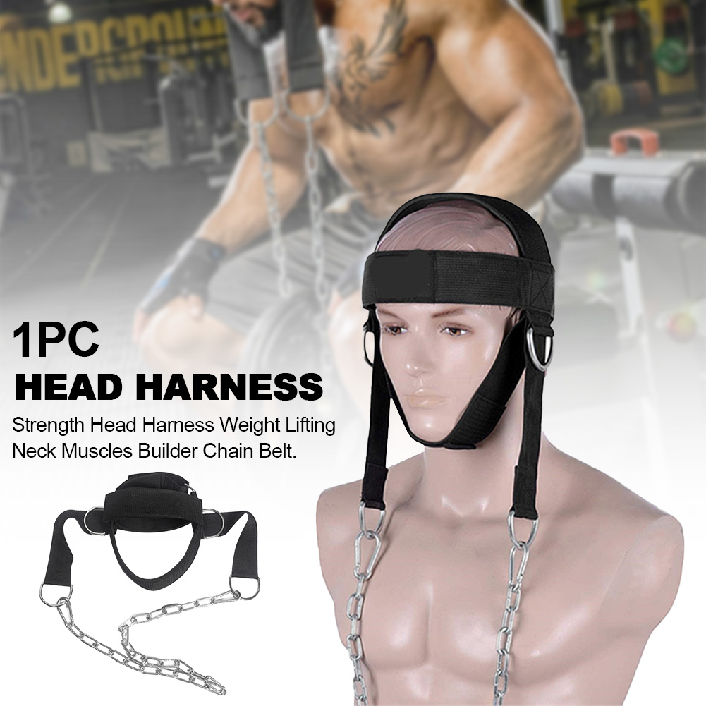 Strength Fitness Chain D Shackle Adjustable Neck Muscles Builder Resilient Weight Lifting Belt Exercise Gym Trainer Head Harness
