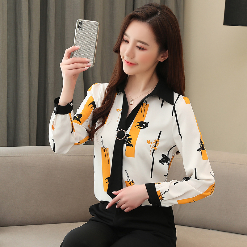 Elegant Loose Women Tops and Blouse Fashion Plus Size Tops 2021 Spring Long Sleeve Print Office Lady Shirt  Blusas 8087 50 5