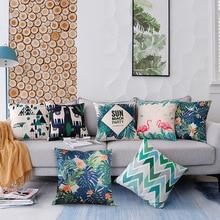 Green Tropical Plant Design Digital Printed Linen Cushion Cover Sofa Pillow Case Back Pillow Case For Decorative Pillows недорого