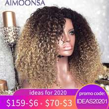 Mongolian Afro Kinky Curly Wig 13x4 Ombre Wig Human Hair 250 Density Colored Lace Front Wigs Natural Hairline Remy Aimoonsa