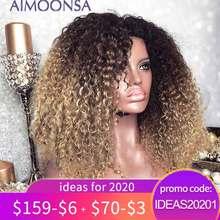 Mongoolse Afro Kinky Krullend Pruik 13X4 Ombre Pruik Menselijk Haar 250 Dichtheid Gekleurde Kant Voor Pruiken Natuurlijke Haarlijn remy Aimoonsa