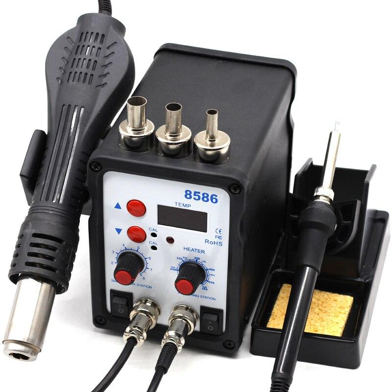 8586 smd bga estação de solda retrabalho ventilador ar quente pistola calor inteligente detecção e ar fresco solda ferro ferramenta reparo