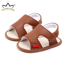 Baby Shoes Sandals Toddler Infant Summer Anti-Slip Soft Cotton PU Soled Solid-Color