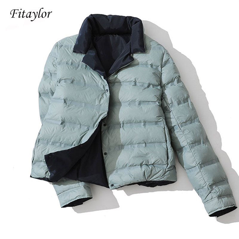 Fitaylor Winter Women Double Sided Down Jacket Stand Collar White Duck Down Coat Double Breasted Warm Short Snow Outwear