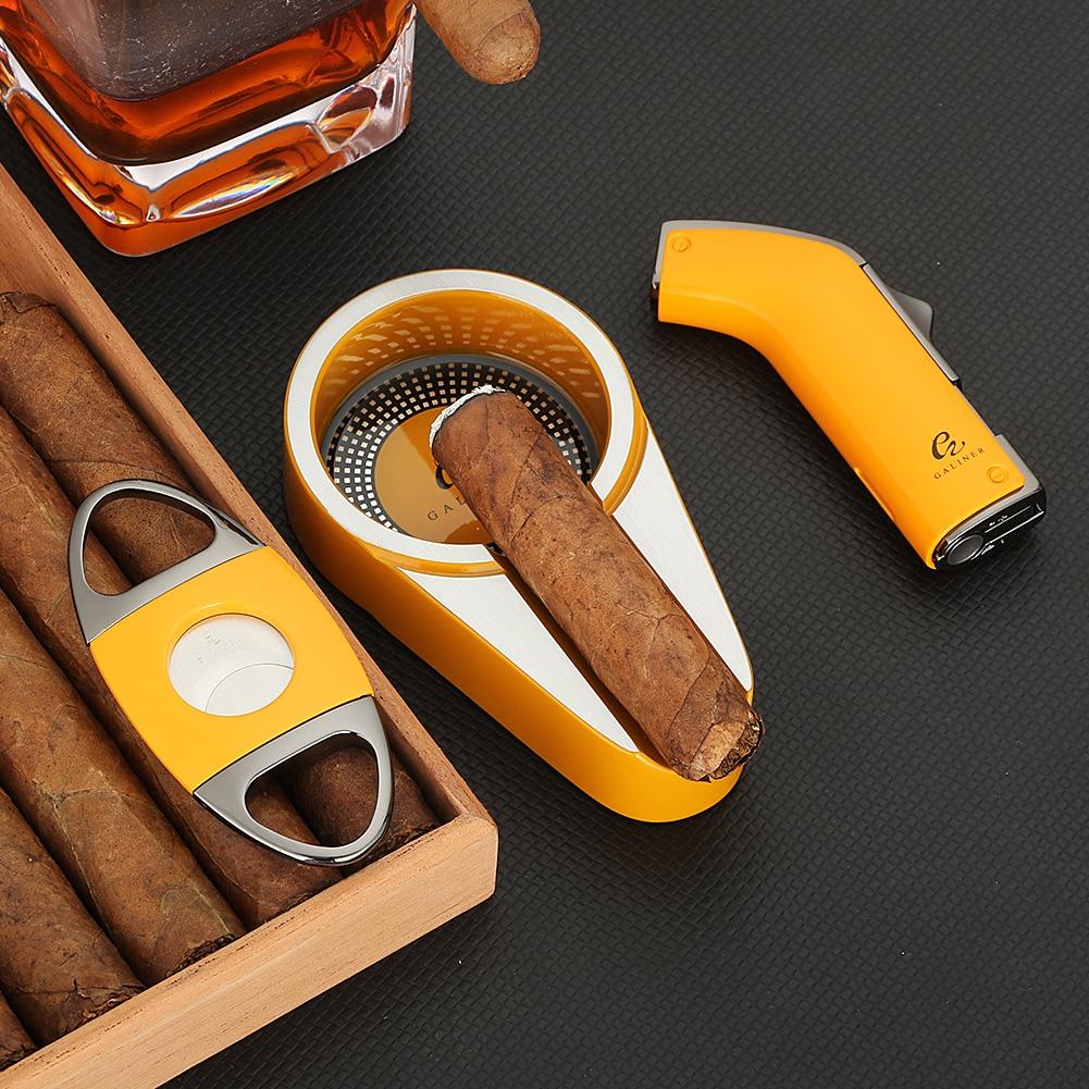 GALINER Gas Lighter Cigar Cutter Set Ashtray Metal Cigar Torch Butane Jet Flame Lighter Refillable Smoking Accessories Gift Men