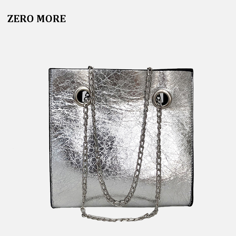 <font><b>Big</b></font> Tote Female <font><b>Bag</b></font> Burst Crack Chain <font><b>Shoulder</b></font> Messenger <font><b>Bag</b></font> PU Leather Rivet Large Capacity Mobile Ladies <font><b>Bags</b></font> <font><b>for</b></font> <font><b>Women</b></font> <font><b>2018</b></font> image