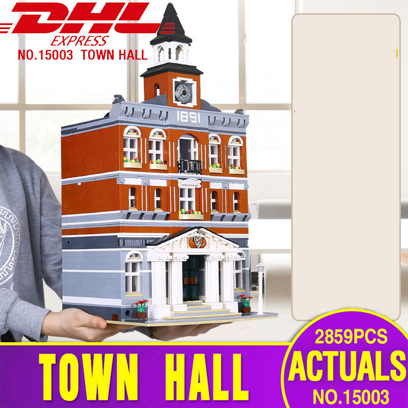 DHL 15003 15001 Street Building Toys The Legoing 10224 Town Hall Set 10251 Brick Bank Building Blocks Kids Christmas Toys Gifts