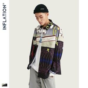 Image 3 - אינפלציה 2020 FW Oversize גברים חולצה Streetwear 2020 סתיו מצחיק דיגיטלי הדפסה ארוך שרוול גברים חולצה Harajuku גברים חולצה 92155W